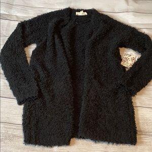 Black teddy bear Sherpa cardigan w pockets nwt